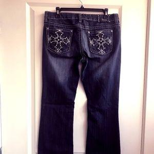 Antique Rivet Bling Jeans Low Rise